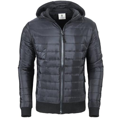Poważnie Kurtki przejściowe - Pikowana kurtka męska z kapturem czarna Recea LS68