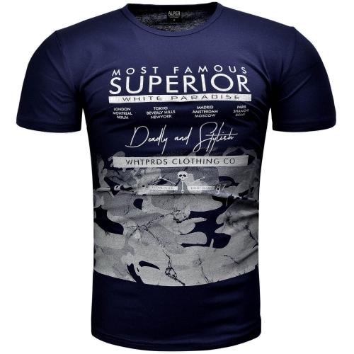 02d9519d4 Koszulki z nadrukiem - Koszulka męska t-shirt z nadrukiem granatowy ...