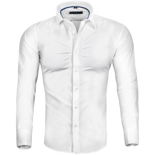 5b9db4c6 Koszula męska biała na spinki slim Recea