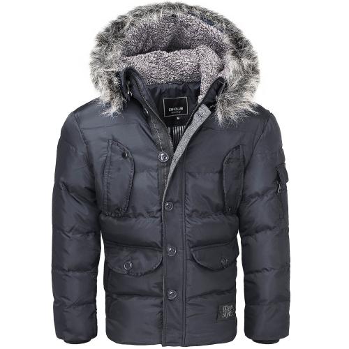 6fa89bb78aca7 Kurtki zimowe - Kurtka męska alaska z kapturem czarna Recea - Recea ...