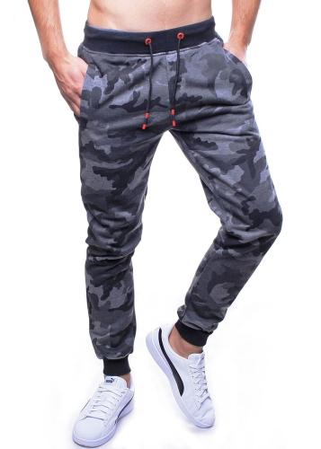 Spodnie męskie dresowe grafitowe moro Recea