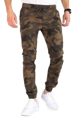 Spodnie męskie joggery zielone moro Recea