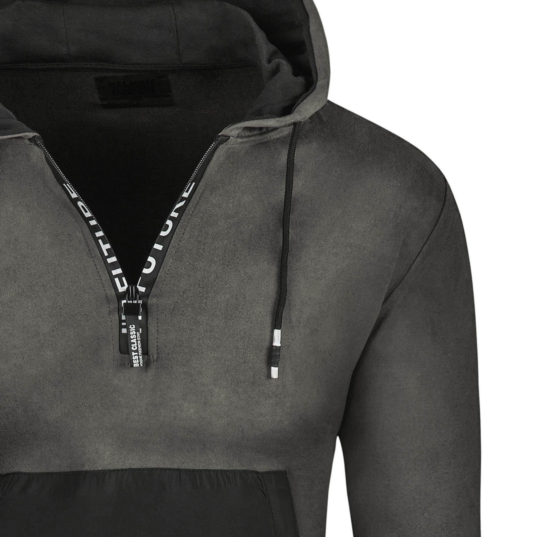 Bluza męska długa czarna z kapturem Recea