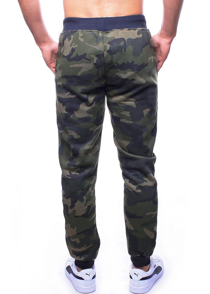 Spodnie męskie dresowe zielone moro Recea