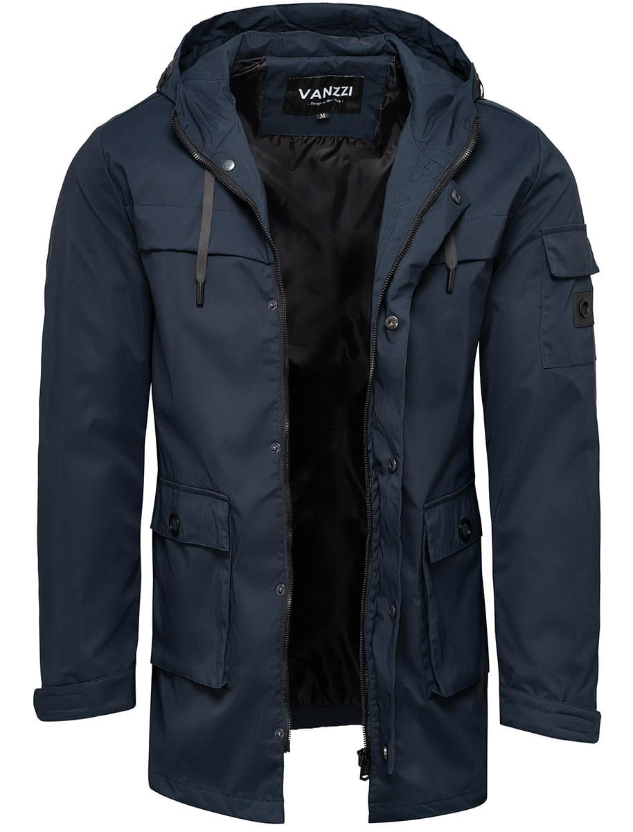 Płaszcz męski z kapturem granatowy Recea
