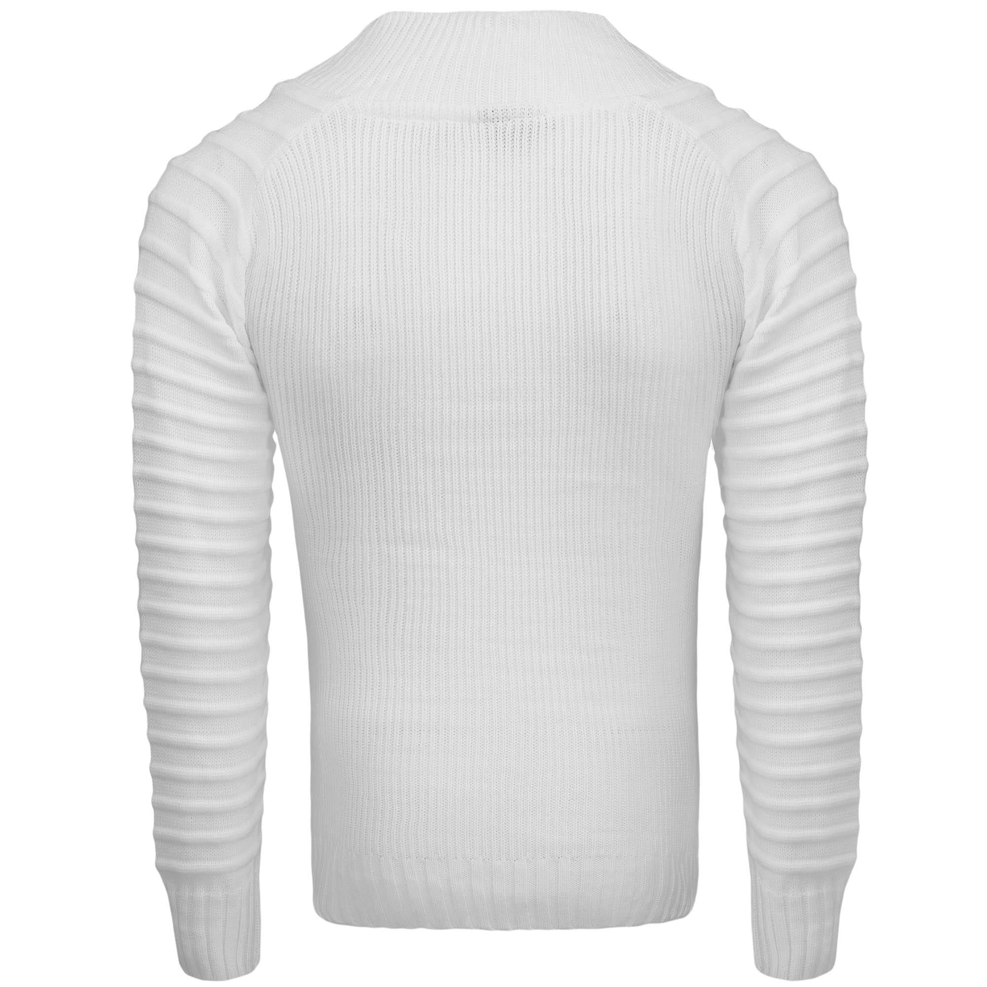 Sweter męski z stójką biały Recea
